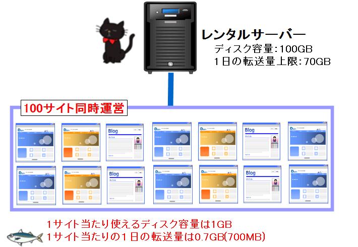 100サイトでのディスク容量・転送量