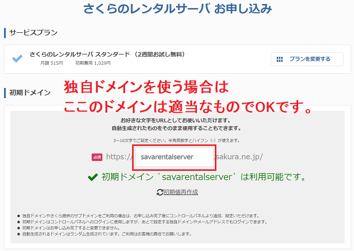 さくらレンタルサーバー_ドメイン入力